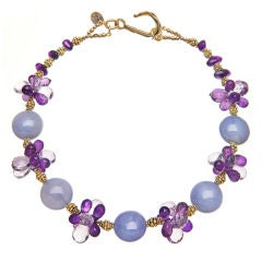 Lilac Chalcedony Rose and Purple Amethyst Vermeil Necklace