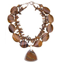 Deborah Liebman Tiger Eye and Sterling Silver Necklace