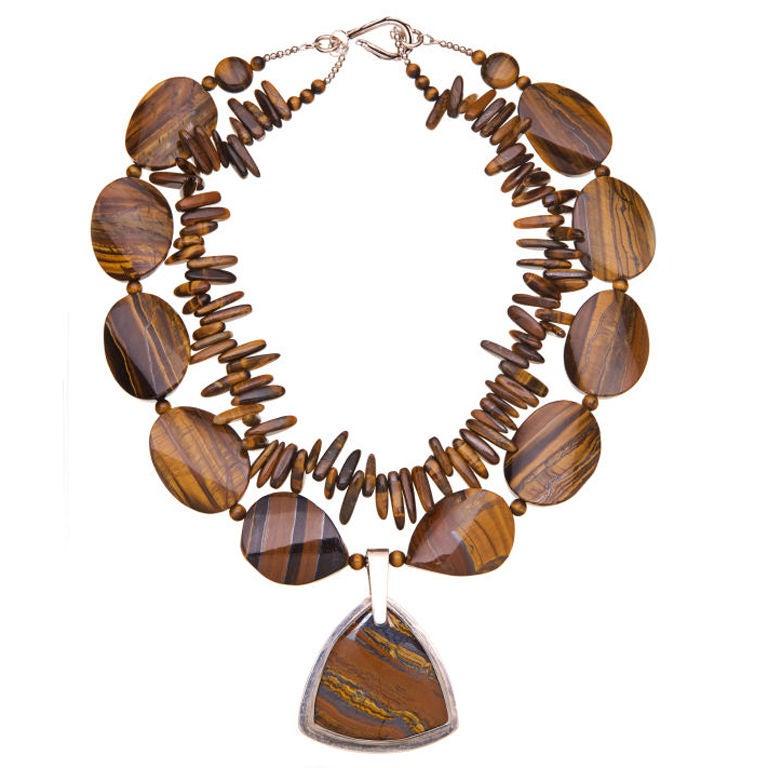 Deborah Liebman Tiger Eye and Sterling Silver Necklace