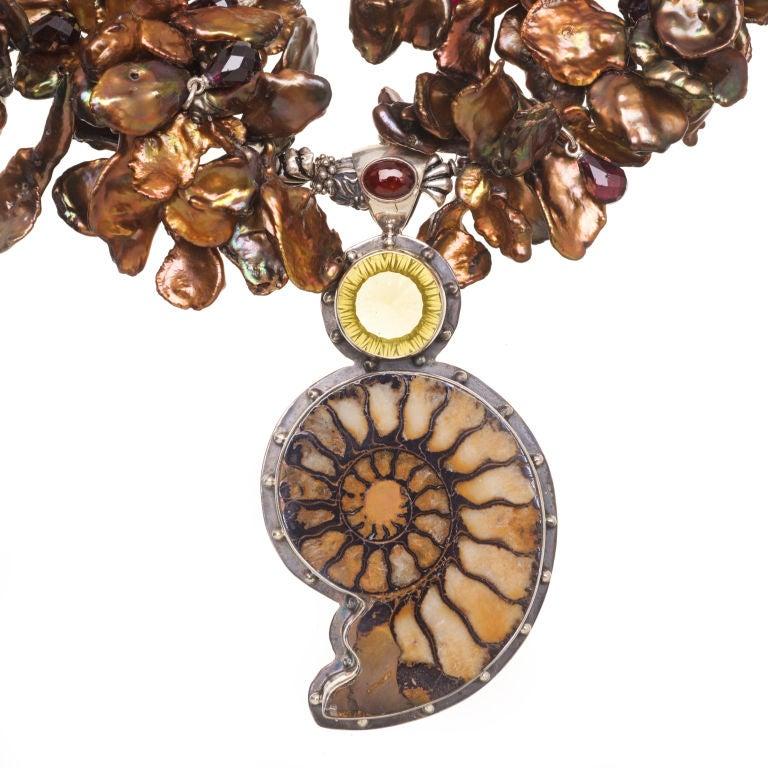 Deborah Liebman Ammonite Garnet Lemon Citrine Pendant Pearl Silver Necklace 2