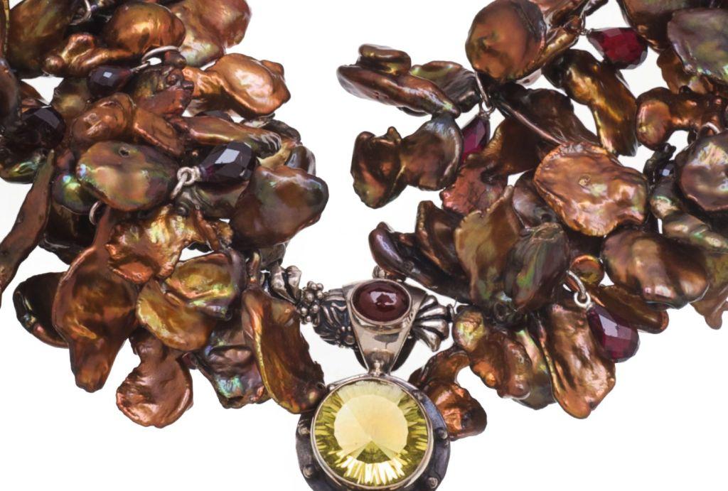 Deborah Liebman Ammonite Garnet Lemon Citrine Pendant Pearl Silver Necklace 3