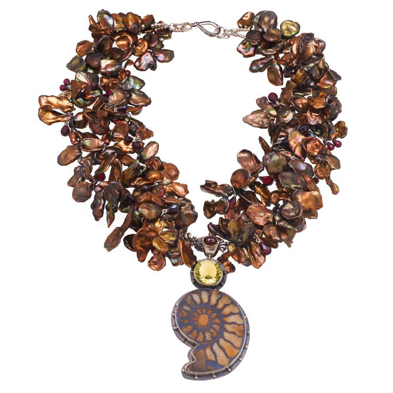 Deborah Liebman Ammonite Garnet Lemon Citrine Pendant Pearl Silver Necklace 1