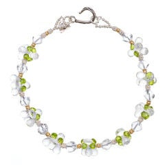 Fabulous Crystal Quartz Peridot Sterling Silver Gold Necklace