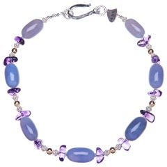 Purple Amethyst, Lilac Chalcedony, Gold and Silver Necklace