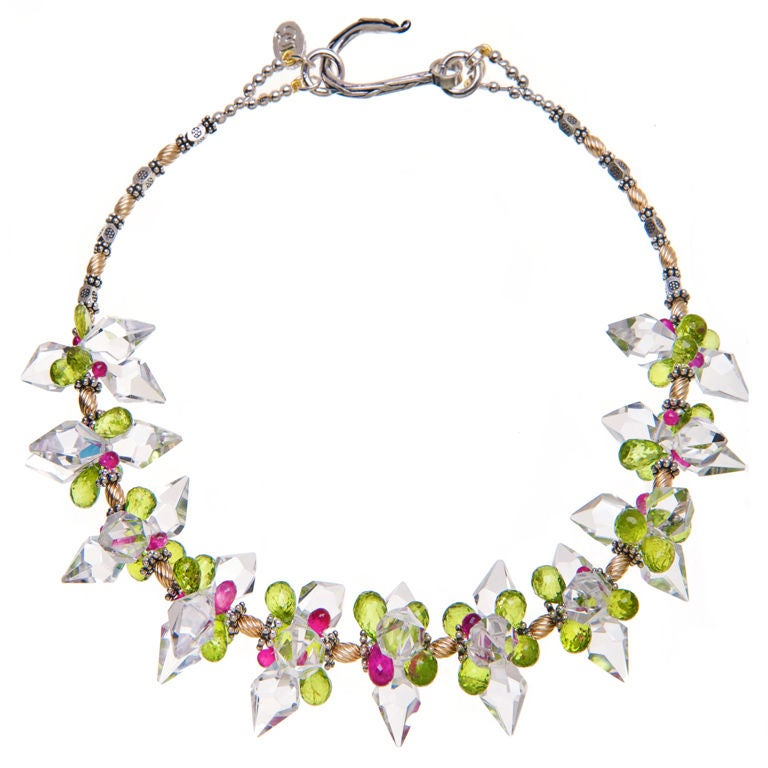 Deborah Liebman Crystal Quartz Rubies and Peridot Necklace Gold and Silver