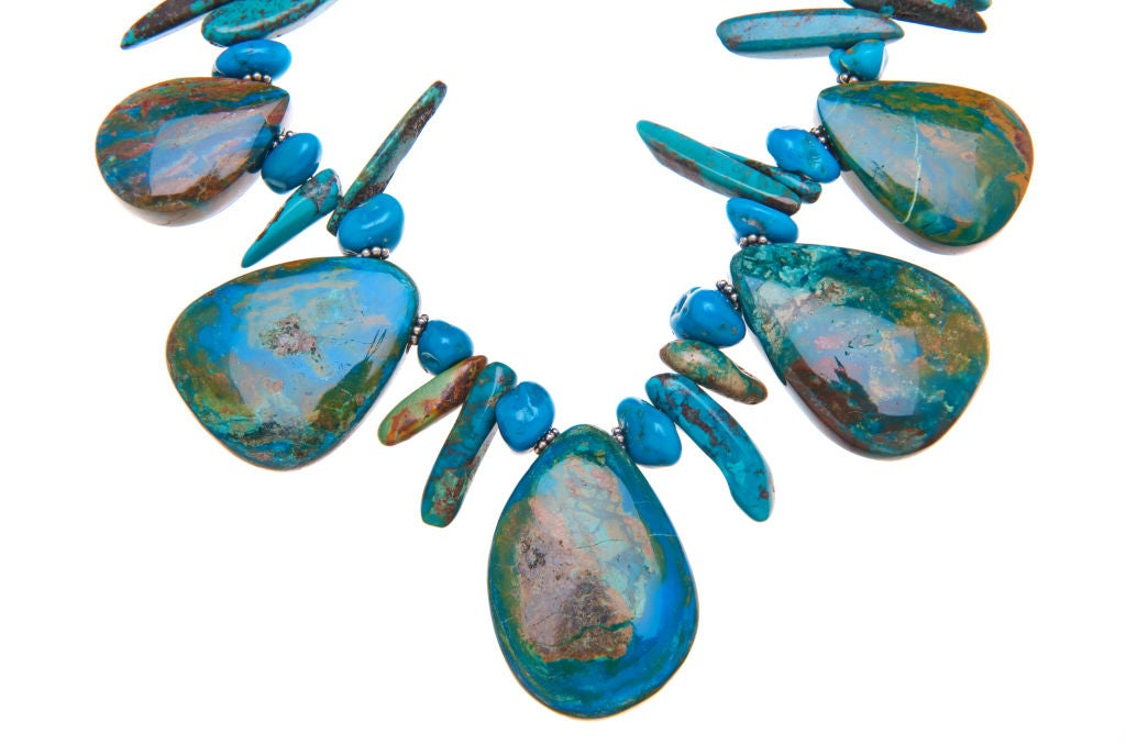 Chinese Opals, Sleeping Beauty and Turquoise Necklace with Sterling Silver