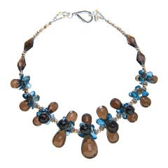 Deborah Liebman Smoky Quartz, London Blue Topaz, Yellow Gold and Silver Necklace
