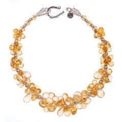 citrine necklace with gold and sterling