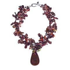 Druzy Quartz Pearl Peridot Garnet Silver Pendant Necklace