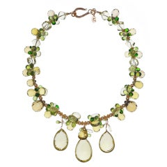 Deborah Liebman Golden Green Citrine Peridot Gold Necklace