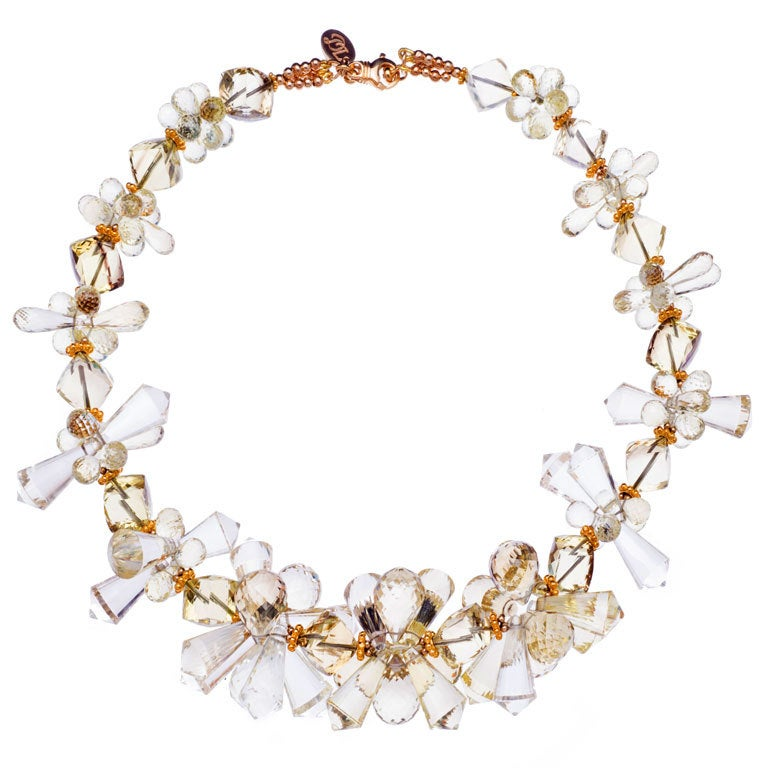 Deborah Liebman Lemon Quartz Spiked Clusters and Yellow Gold Necklace