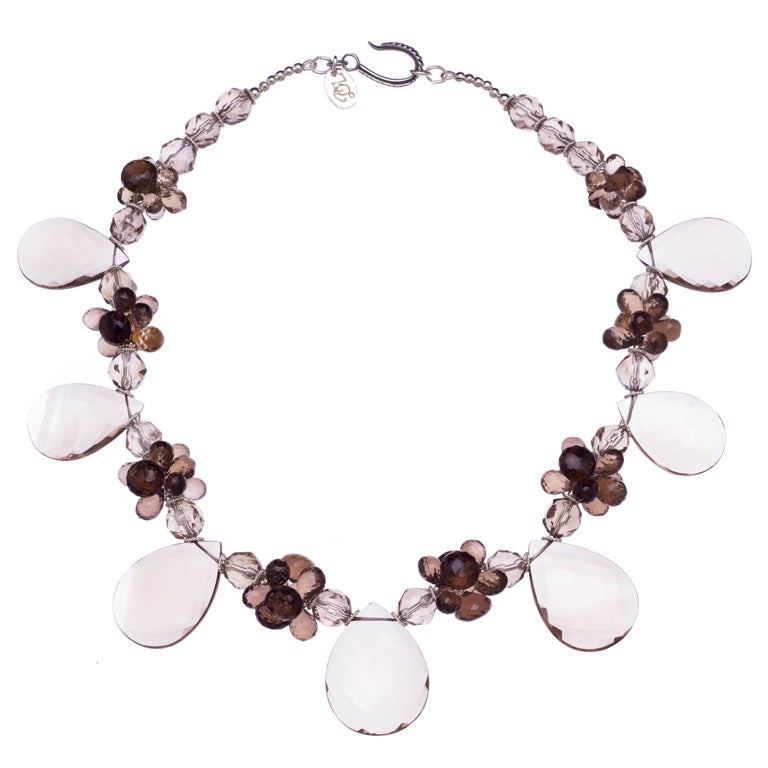 Deborah Liebman Smoky Quartz and Sterling Silver Necklace