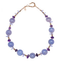Lilac Chalcedony and Amethyst Necklace