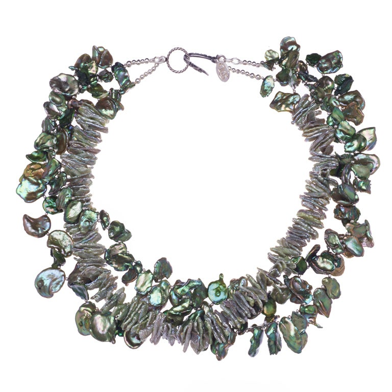 Deborah Liebman Multi-Strand Green Cornflake Pearls Necklace For Sale