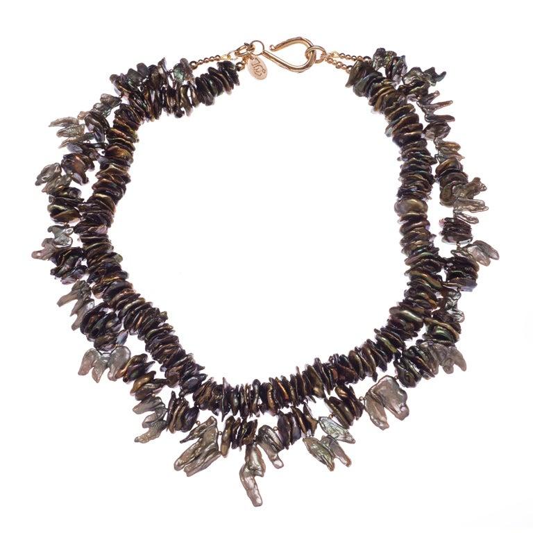 Deborah Liebman Multi-Strand Gold Green Cornflake Fresh Water Pearls Necklace