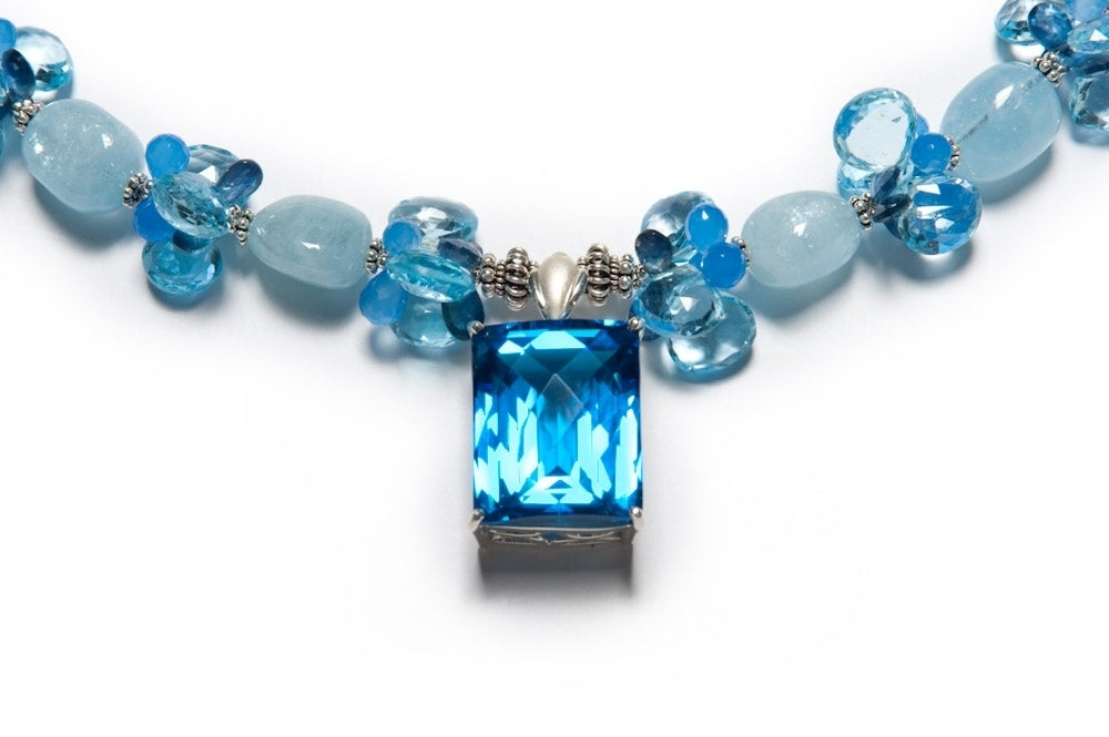 84 Carat Blue Topaz Pendant, Blue Sapphires, Aquamarine, Blue Topaz and Blue Chalcedony Necklace with Sterling Silver