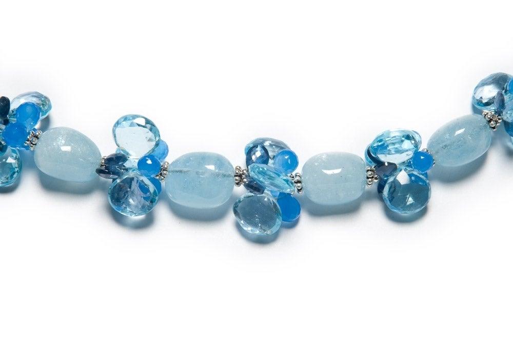 Deborah Liebman 84 Carat Blue Topaz Pendant Blue Sapphire Aquamarine Necklace In New Condition For Sale In Kansas City, MO