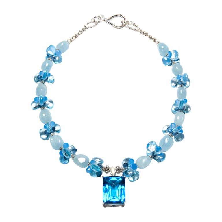 Deborah Liebman 84 Carat Blue Topaz Pendant Blue Sapphire Aquamarine Necklace For Sale