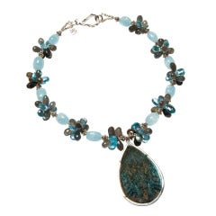 Deborah Liebman Labradorite Pendant Aquamarines Swiss Topaz Sterling Necklace