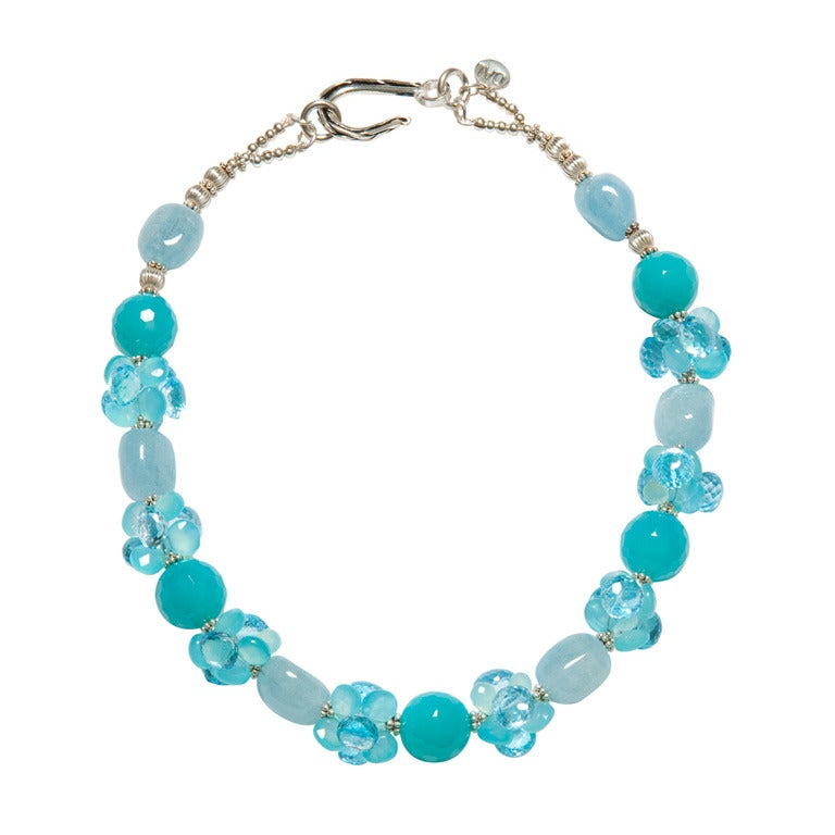 Deborah Liebman Aquamarine, Blue Chalcedony and Blue Topaz Sterling Necklace