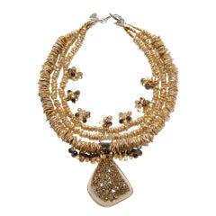 Druzy Quartz Pendant, Pearls, Citrine, Smoky Quartz Necklace