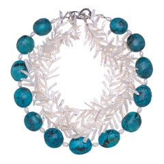 Deborah Liebman Turquoise and White Fresh Water Pearls Sterling Silver Necklace