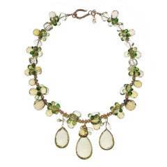 Golden Green Citrine Peridot Chrome Diopside Lemon Quartz and Gold Necklace