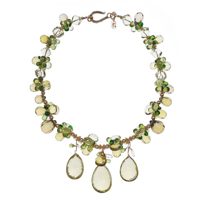 Deborah Liebman Golden Green Citrine Peridot Lemon Quartz Yellow Gold Necklace