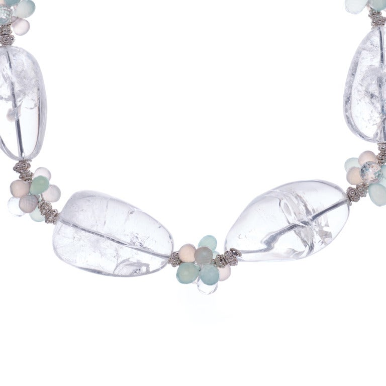 Large Crystal Quartz Nuggets Pink Chalcedony Aqua Chalcedony Crystal Quartz Sterling Silver Necklace