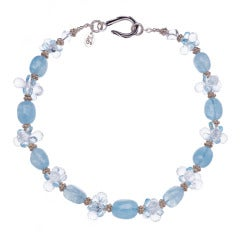Aquamarine Crystal Quartz Swiss Blue Topaz Sterling Silver Necklace
