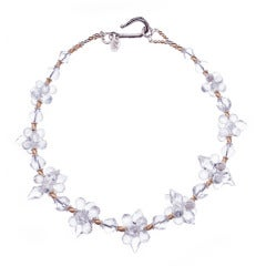 Deborah Liebman Crystal Quartz Sterling Silver Yellow Gold Necklace