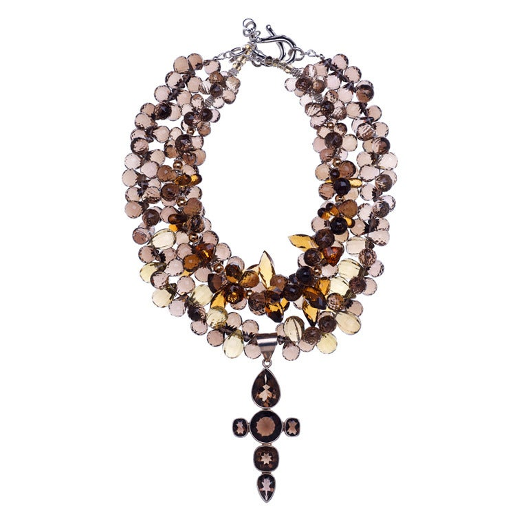 Deborah Liebman Smoky Quartz Multi-Strand Cross Pendant Necklace
