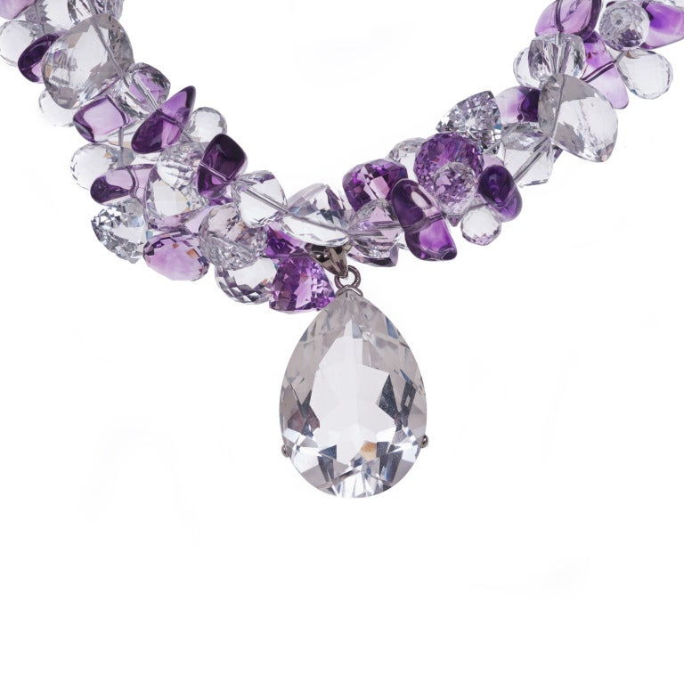 Multi-Strand Amethyst White Topaz Crystal Quartz Necklace 4