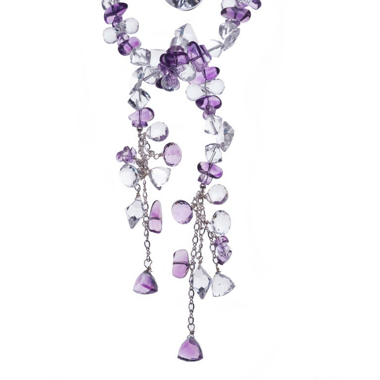 Multi-Strand Amethyst White Topaz Crystal Quartz Necklace 6