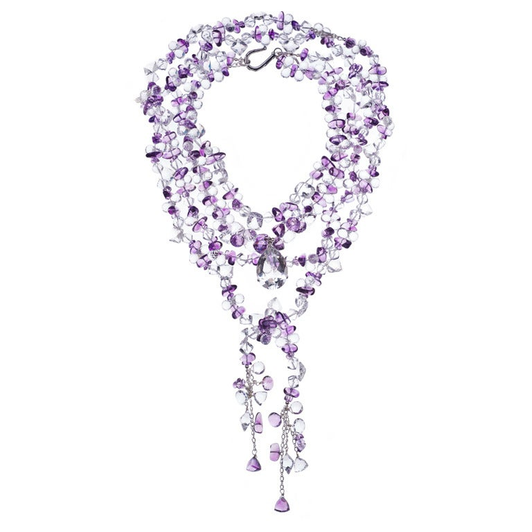 Multi-Strand Amethyst White Topaz Crystal Quartz Necklace 1