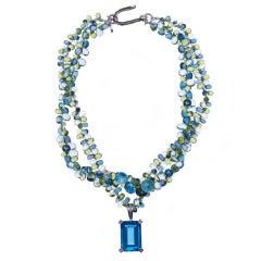 Deborah Liebman 100 Carat Blue Topaz Pendant Topaz Peridot Necklace
