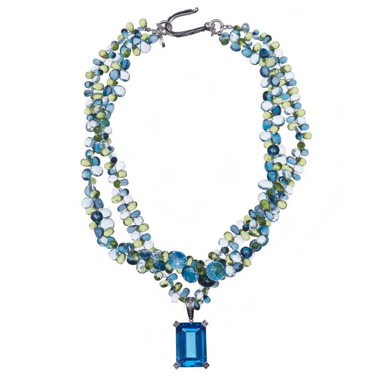 Deborah Liebman 100 Carat Blue Topaz Pendant Topaz Peridot Necklace For Sale