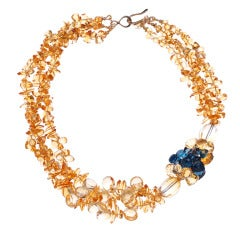 Citrine London Blue Topaz Gold Multi Strand Necklace
