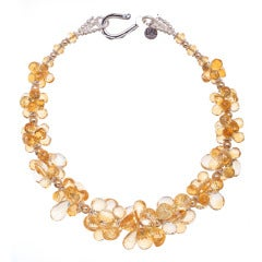 Deborah Liebman Citrine Yellow Gold and Sterling Silver Necklace