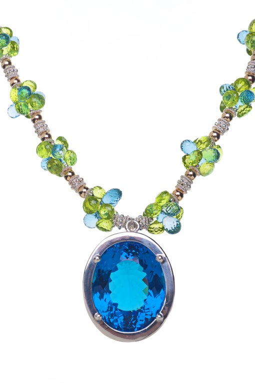 90 Carat Blue Topaz Pendant, Peridot, London Blue Topaz, 14K Gold and Sterling Silver