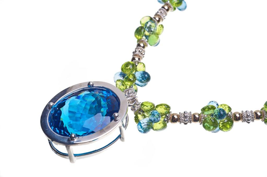 Modern Deborah Liebman 90 Carat Blue Topaz Pendant Peridot Topaz Silver Gold Necklace For Sale