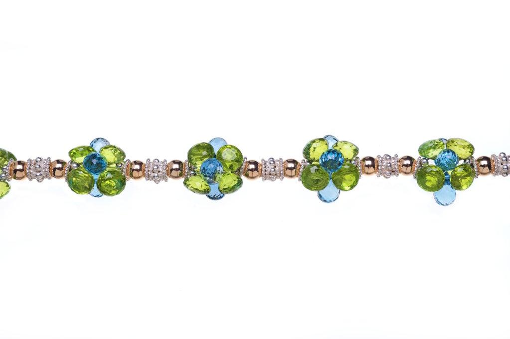 Deborah Liebman 90 Carat Blue Topaz Pendant Peridot Topaz Silver Gold Necklace In As new Condition For Sale In Kansas City, MO