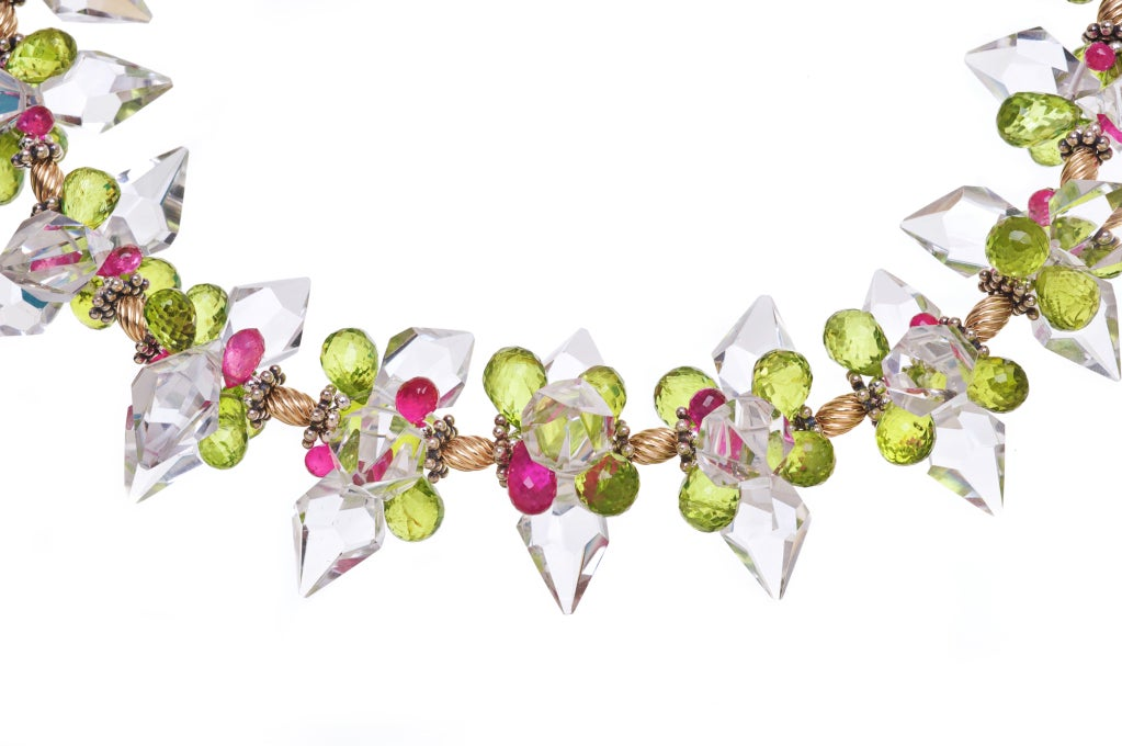 Crystal Quartz, Rubies and Peridot Necklace with 14K Gold and Sterling Silver
