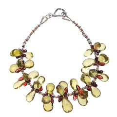 Lemon Quartz Garnet Silver Gold Necklace