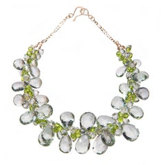 Deborah Liebman Green Amethyst Peridot Yellow Gold Necklace