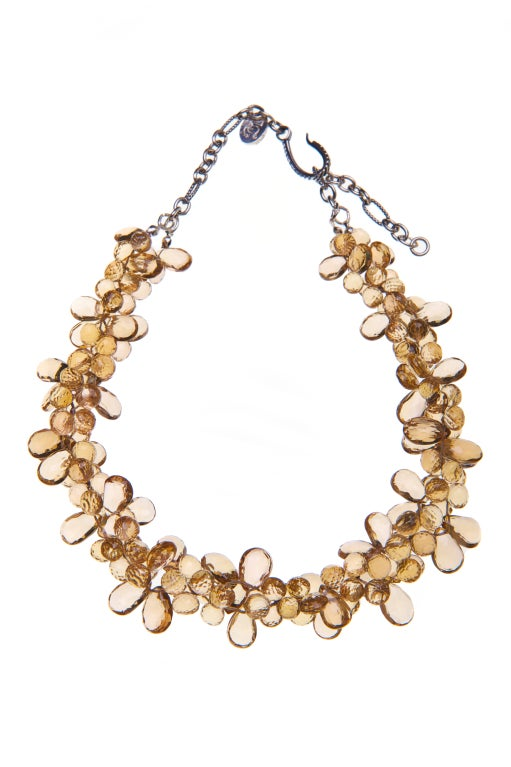 Deborah Liebman Champagne Citrine Ruisseau des Briolettes and Sterling Silver Necklace    (15 - 18 inch adjustable length)