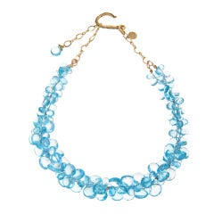 Swiss Blue Topaz Ruisseau Des Briolettes Necklace in Gold