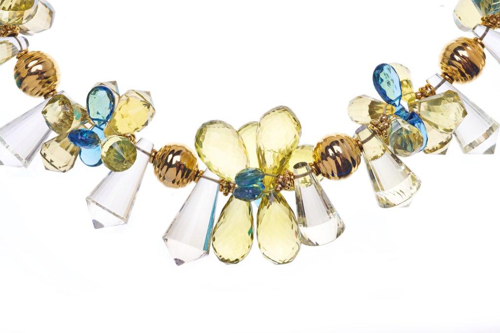 Deborah Liebman Lemon Quartz and London Blue Topaz Necklace with 18K Gold