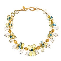 Deborah Liebman Lemon Quartz and London Blue Topaz Necklace in Gold