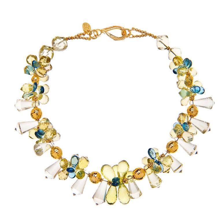 Deborah Liebman Lemon Quartz and London Blue Topaz Necklace in Gold For Sale